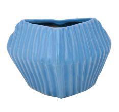 Blue Color Ceramic Vase Or Pot With Patterned Design