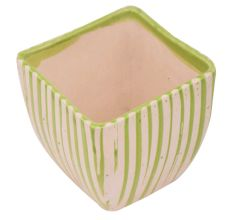 Hand painted Green Stripe Design Pot For Interior Design