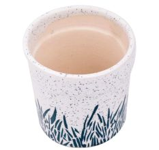 White Cylindrical Ceramic Pot Hand painted Leaves Design