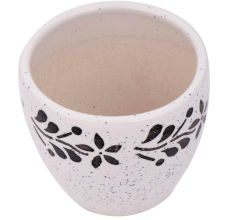 Fresh White Ceramic Pot Hand painted Black Floral Border on Top