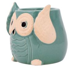 Teal Blue Painted Owl Ceramic Pot Planter