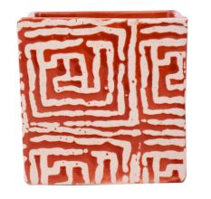 Red And White Maize Square Ceramic Pot Planter