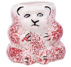 White And Red And Black Pattern Panda Ceramic Pot