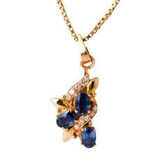 Handmade 3 Blue Sapphire Diamonds 18 K Spiral Gold Pendant
