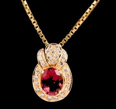 Swirl 18K Gold Pendant Oval Pink Tourmaline Stone Decorated with Small Diamonds