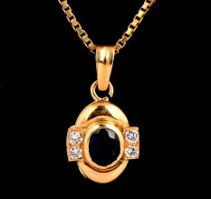 18k Gold Pendant With Single Oval Blue Sapphire Stone And Diamonds