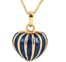 18 k Gold Enameled Blue Pumpkin Pendant For Women