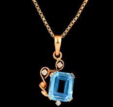 Single Blue Topaz Stone 18 K Gold Pendant With Diamonds