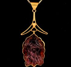 Modern Red Iolite Stone 18 k Gold Pendant For Women
