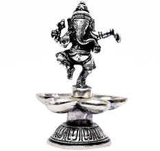 Brass Dancing Ganesha Statue With Five Diyas In Nickel Finish