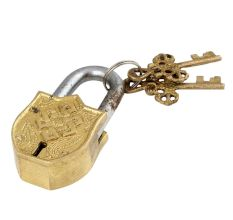 Religious Chand Tara Deign Brass Padlock With 2 Keys