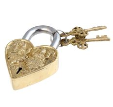Brass Laxmi Ganesha Padlock With Two Keys