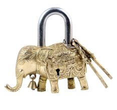 Brass Elephant Statue Padlock With 2 Decorative keys