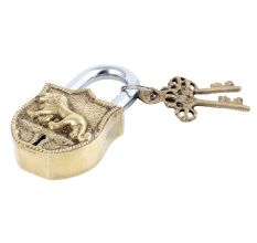 Tiger Engraved Design�Brass Padlock Door Lock  With 2 Keys