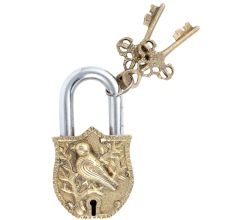 Lovely Bird Figurine Design Brass Padlock With 2 Keys