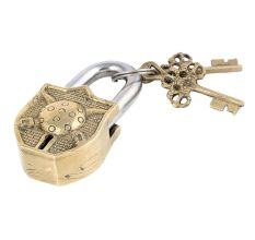 Brass Dhal Talwar Design Padlock With 2 Decorative Keys