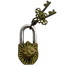 Brass Padlock Engraved Yellow Hindu Sun God Lock With 2 Keys