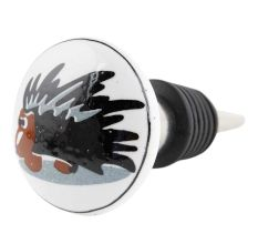 Black Hedgehog Ceramic Flat Wine Bottle Stopper