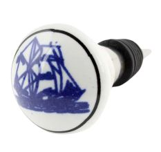 Blue Yatch Ceramic Floral Wine Bottle Stopper