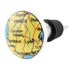 France Map Flat Ceramic Wine Bottle Stopper
