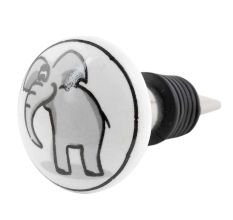 Grey Elephant Ceramic Flat Wine Bottle Stopper