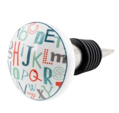 Multicolor Alphabet Flat Ceramic Wine Bottle Stopper