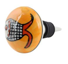 Mustard Fish Flat Ceramic Wine Bottle Stopper