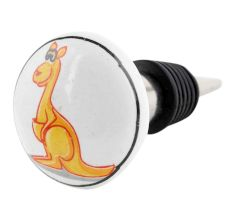 Orange Kangaroo Ceramic Flat Wine Bottle Stopper