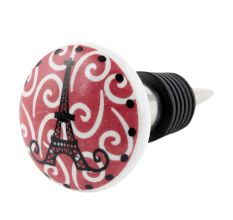 Pink Paris Eiffel Tower Flat Wine Bottle Stopper