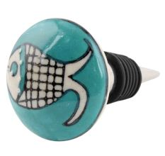 Sea Green Fish Ceramic Wine Bottle Stopper
