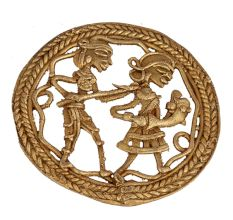 Admirable Brass Artwork Depicting A Fishermans Story