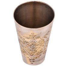 Garden Of Flowers Design Brass Lassi Glass