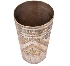 Brass Punjabi Glass Etched With Leaves In Arch Design
