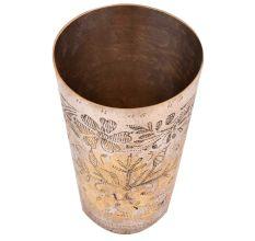 Brass Punjabi Glass Chiseled Flower Pattern
