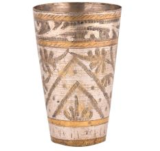 Brass Lassi Glass Leaf In Arch With Golden Bands