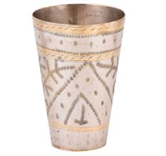 Brass Etched Arch Leaves Design Lassi Glass
