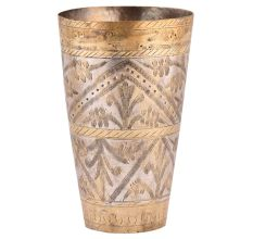 Brass Lassi Glass With leaf Border With Gold Highlights