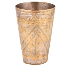 Brass Golden Lassi Glass With Faded Indian Leaf Design