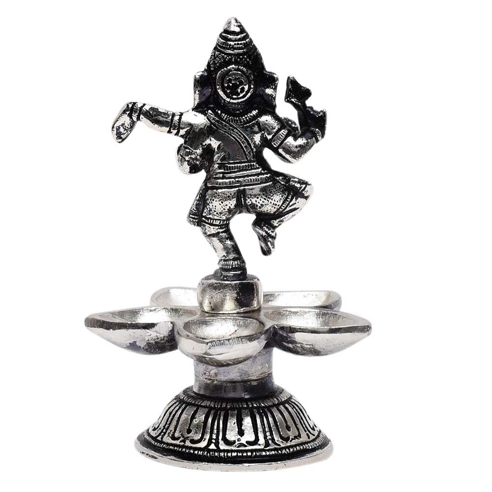 Brass Dancing Ganesha Statue With Five Diyas In Nickel Finish