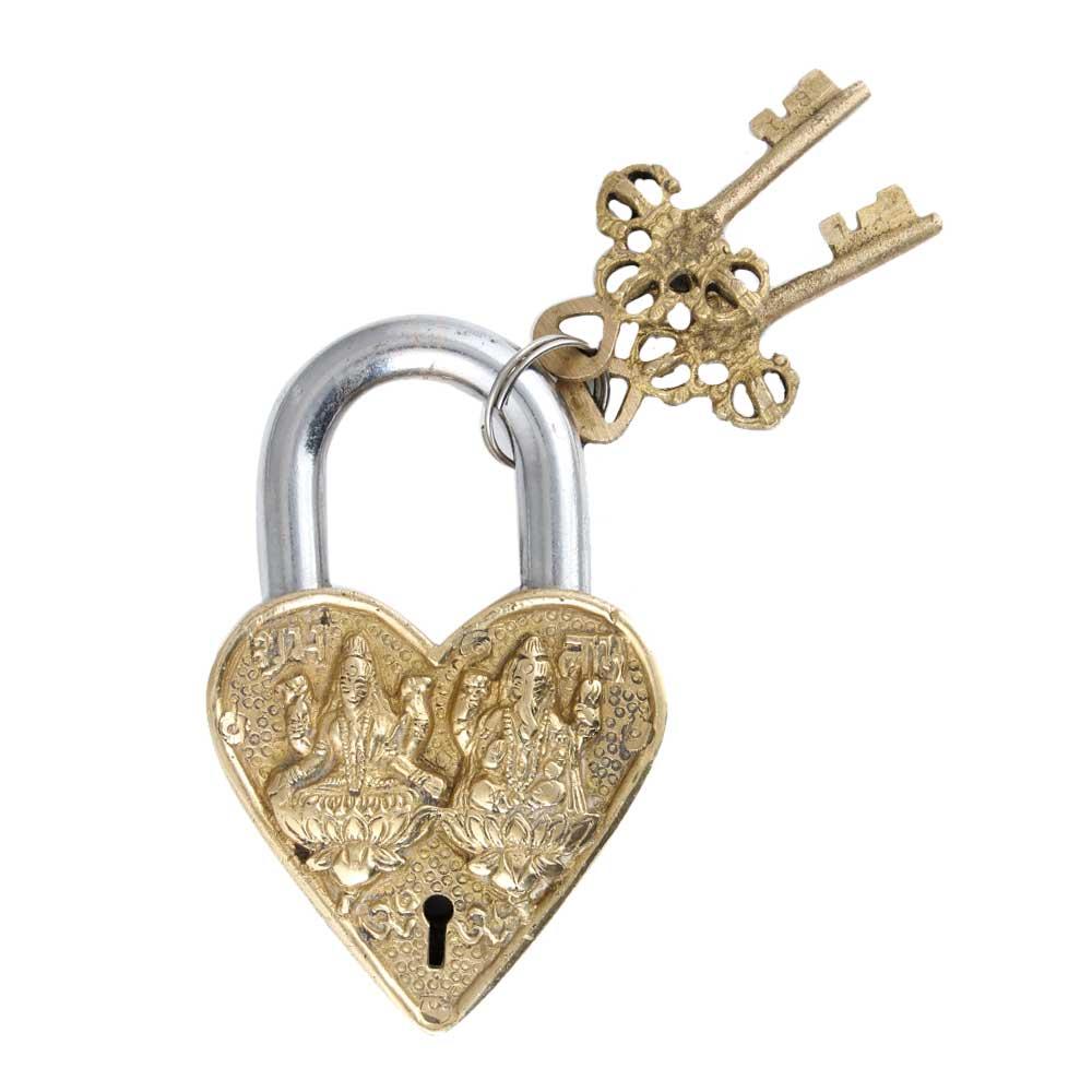 Brass Laxmi Ganesha Padlock With Two Keys