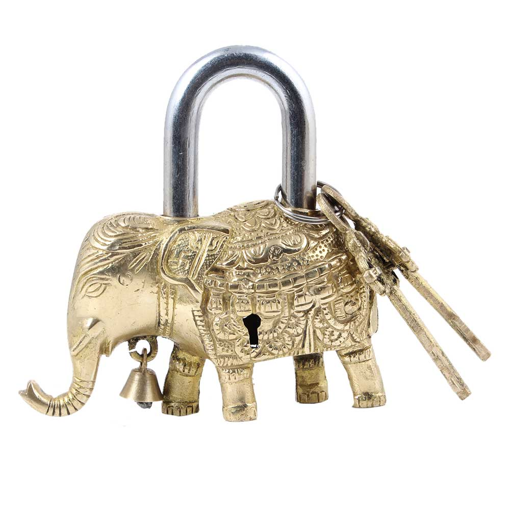 Brass Elephant Statue Padlock With 2 Decorative keys
