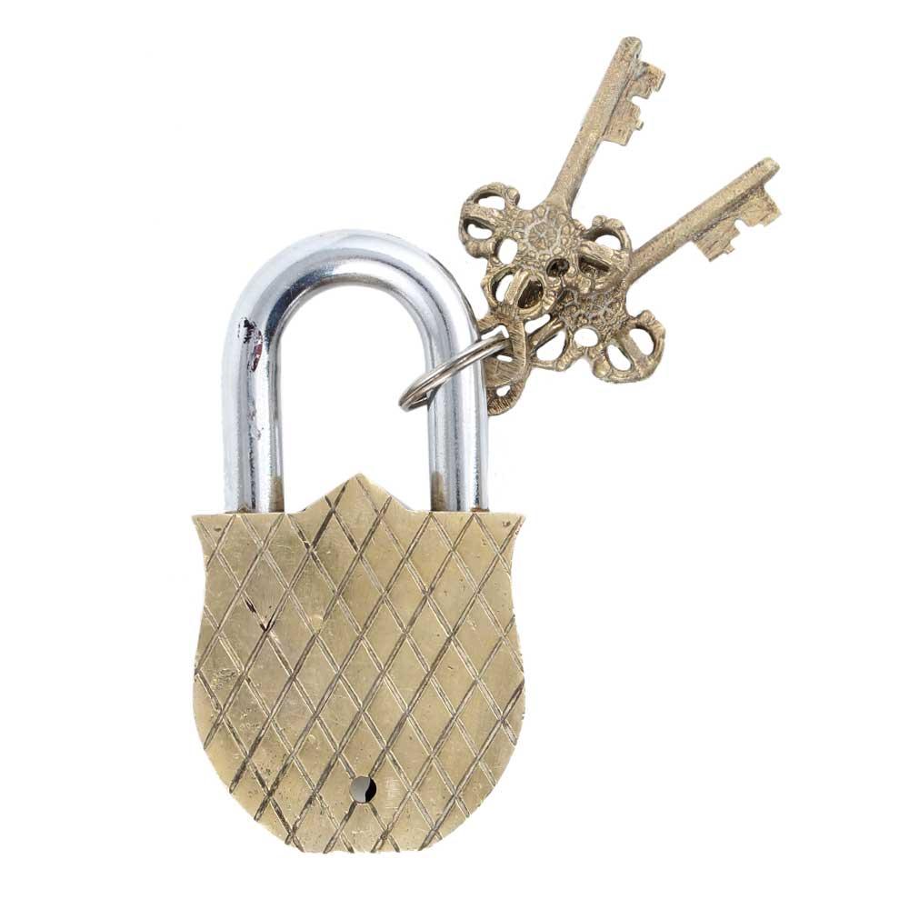 Tiger Engraved Design�Brass Padlock Door Lock  With 2 Keys