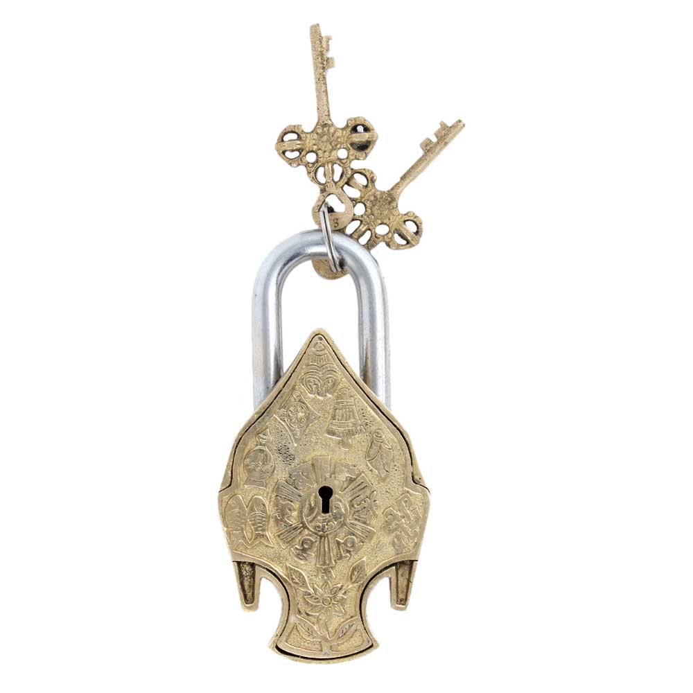 Brass Padldlock Engraved With Buddha Face And 2 Keys