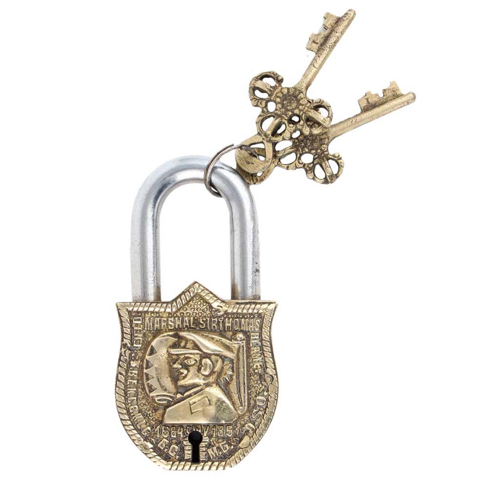 Brass Padlock Solider Face Design With 2 Decorative Keys