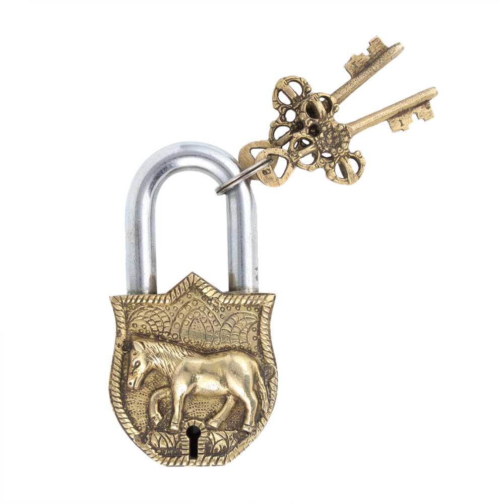 Old Brass Horse Design Lock With 2 Decorative Keys