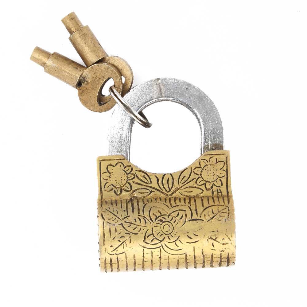 Brass  Floral Design Handcuff Lock With 2 Keys