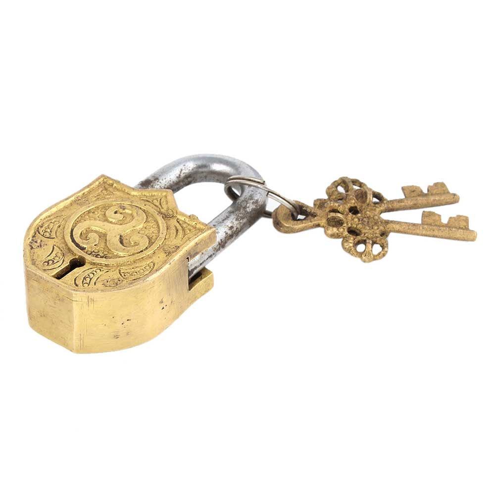 Brass Padlock Engraved With Abstract Design With 2 Keys