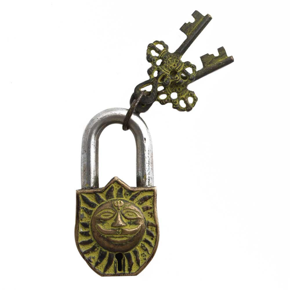 Brass Padlock Engraved Yellow Hindu Sun God Lock With 2 Keys