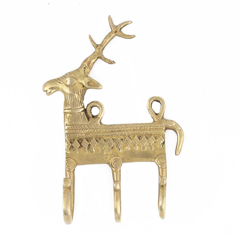 Hand Casted Deer Motif Wall Hanger With 3 Hooks