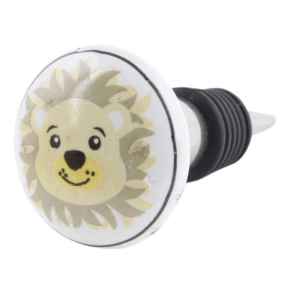 Mustard Panda Ceramic Flat Wine Bottle Stopper